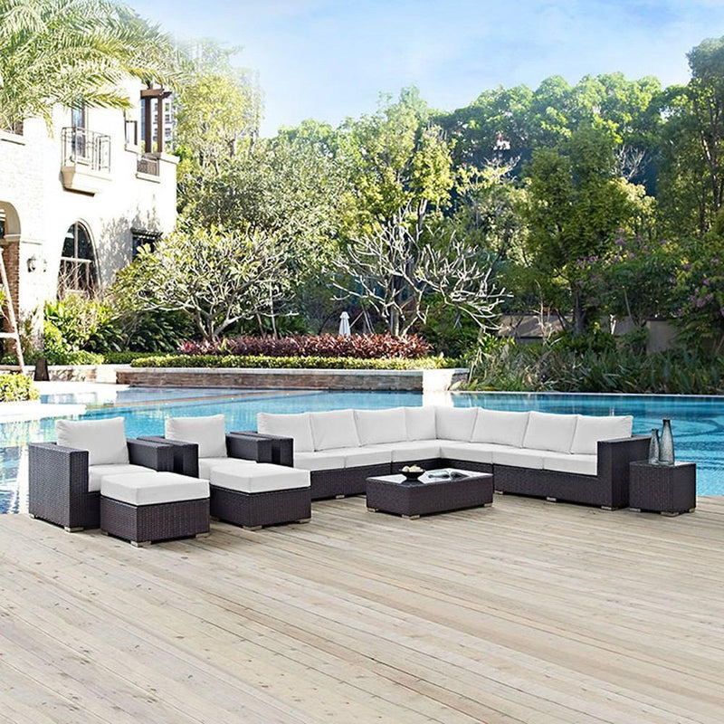 Modway Convene 11 Piece Outdoor Patio Sectional Set - Espresso White