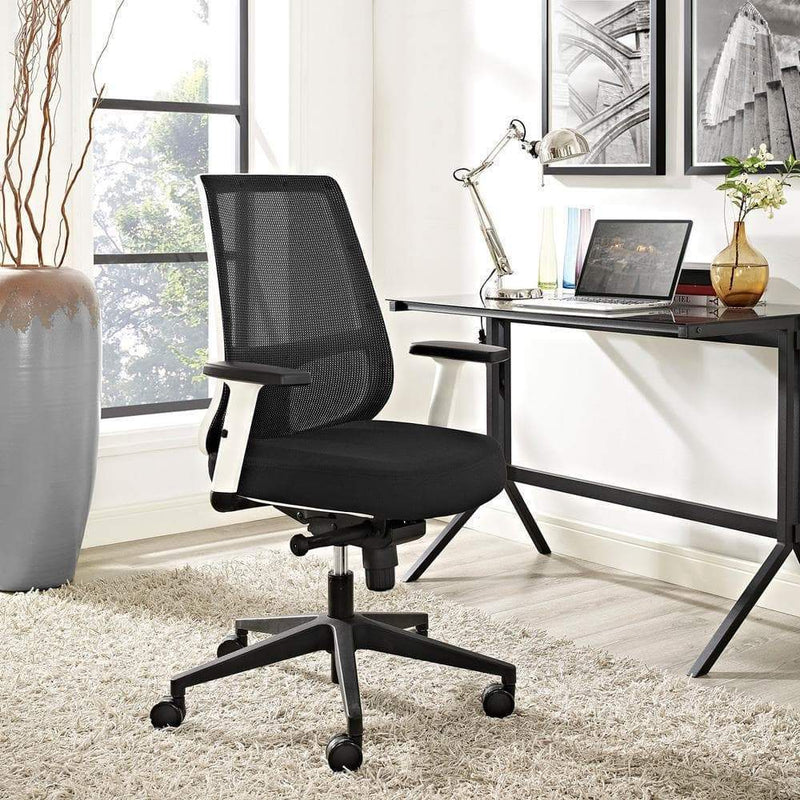 Modway Pump White Frame Fabric Office Chair - Black