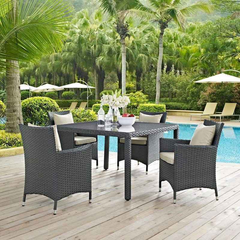 Modway Sojourn 5 Piece Outdoor Patio Sunbrella Dining Set - Antique Canvas Beige