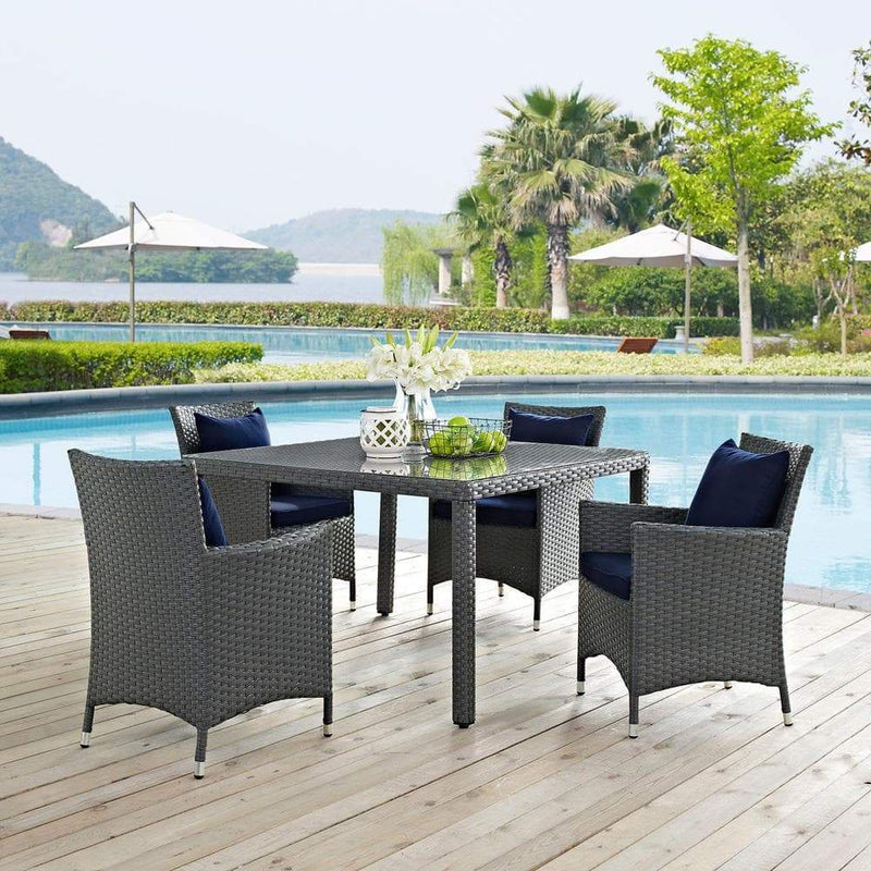 Modway Sojourn 5 Piece Outdoor Patio Sunbrella Dining Set - Canvas Navy