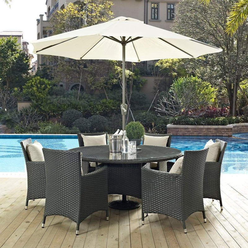 Modway Sojourn 8 Piece Outdoor Patio Sunbrella Dining Set