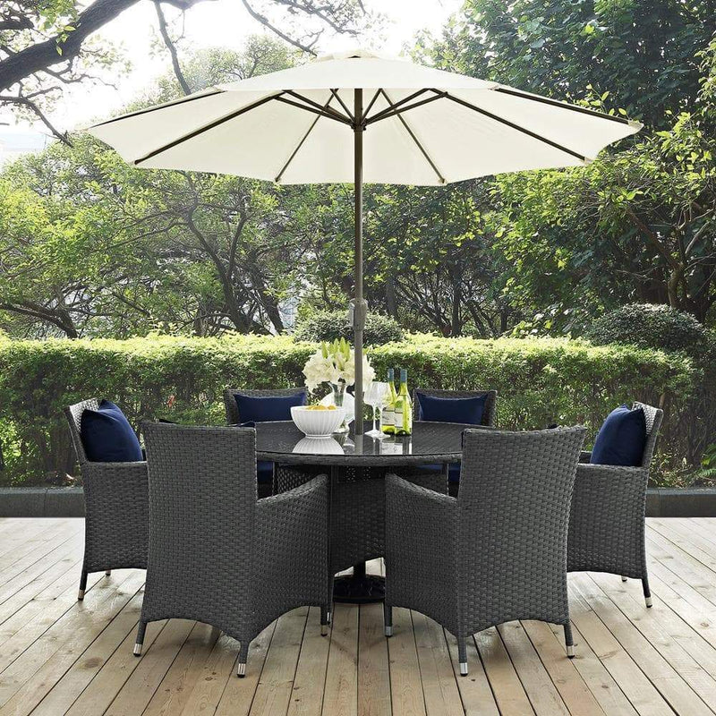 Modway Sojourn 8 Piece Outdoor Patio Sunbrella Dining Set - Canvas Navy