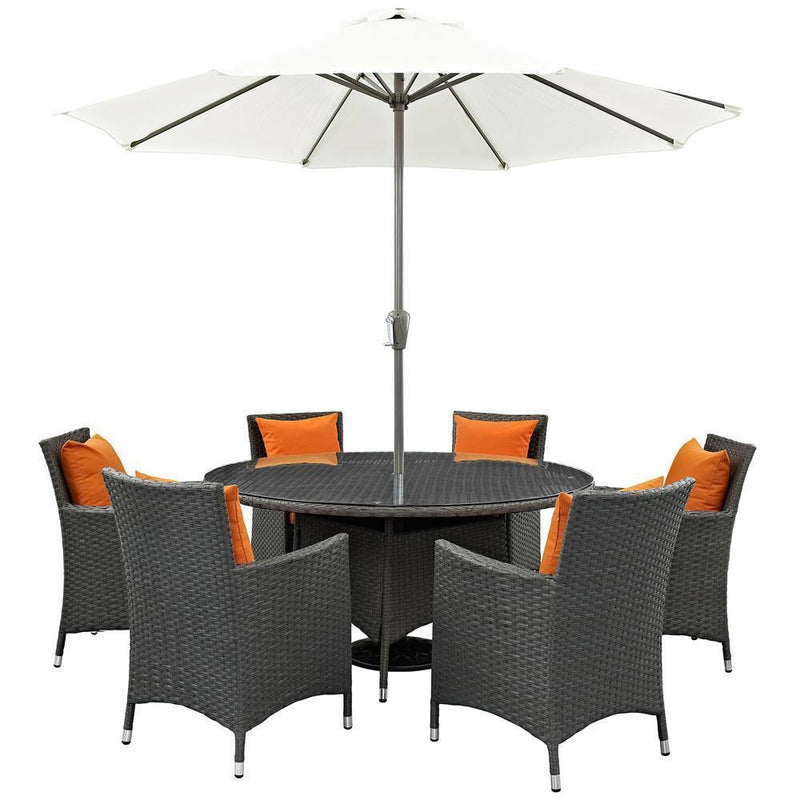 Modway Sojourn 8 Piece Outdoor Patio Sunbrella Dining Set - Canvas Tuscan