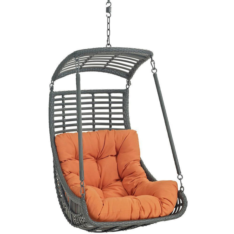 Modway Jungle Outdoor Patio Swing Chair With Stand - Orange