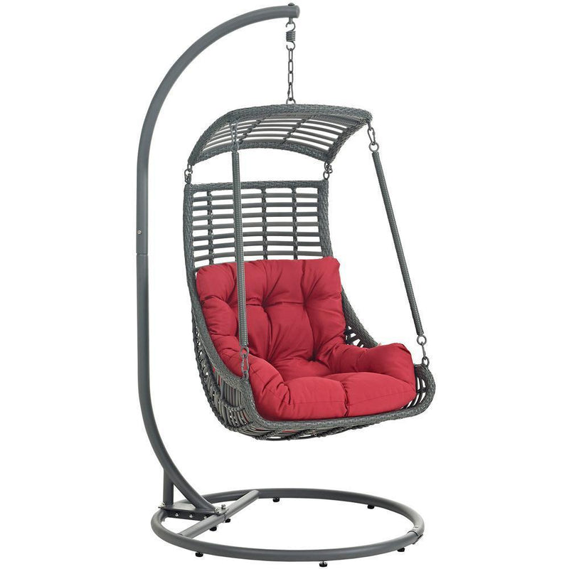 Modway Jungle Outdoor Patio Swing Chair With Stand - Red
