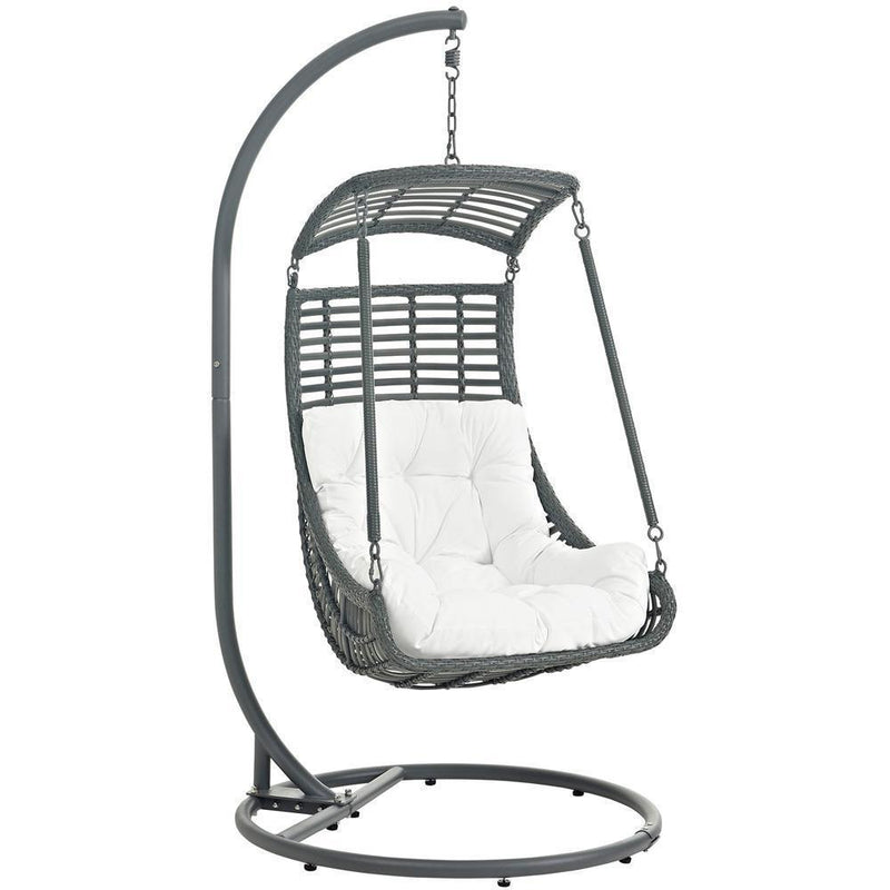 Modway Jungle Outdoor Patio Swing Chair With Stand - White
