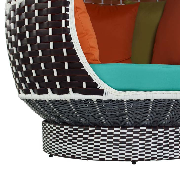 Modway Palace Outdoor Patio Wicker Rattan Hanging Pod In Brown Turquoise