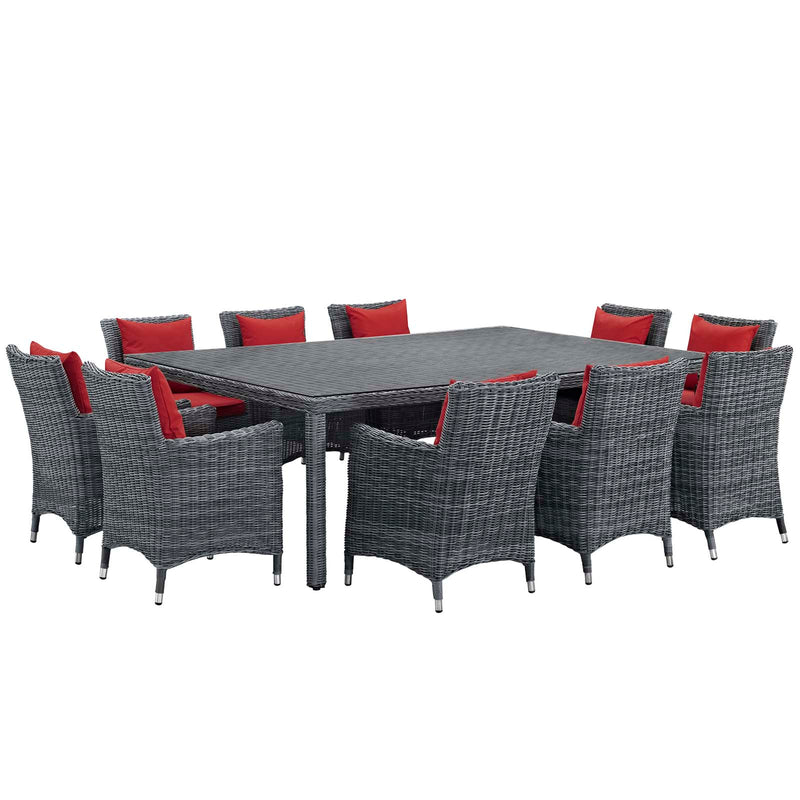 Modway Summon 11 Piece Outdoor Patio Sunbrella Dining Set - EEI-2333