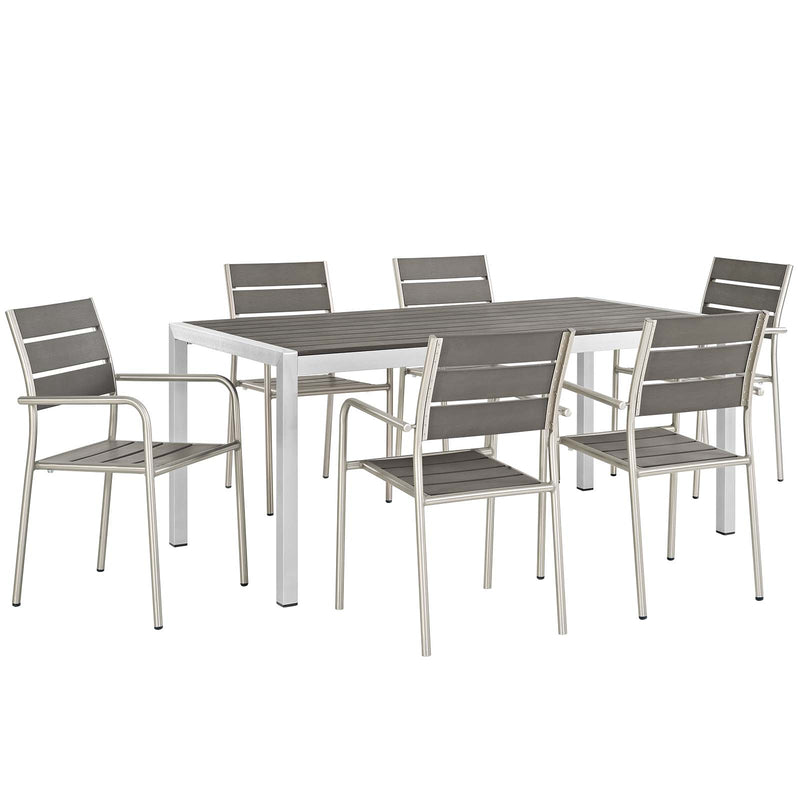 Modway Shore 7 Piece Outdoor Patio Aluminum Dining Set
