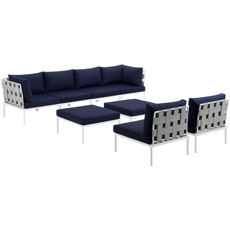 Modway Harmony 8 Piece Outdoor Patio Aluminum Sectional Sofa Set-EEI-2624