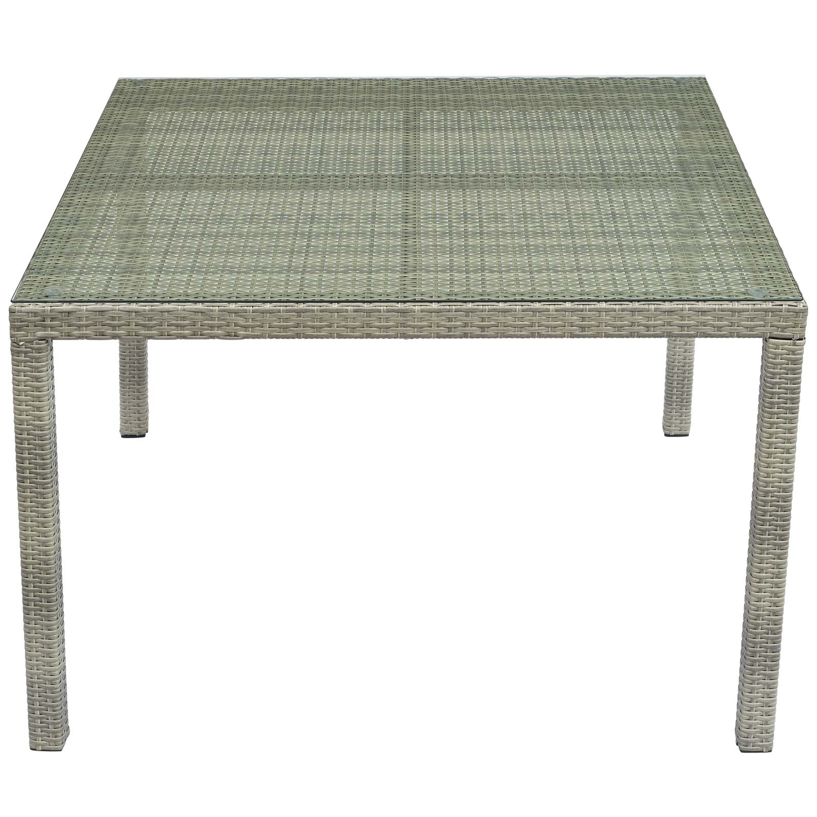 """Modway Conduit 47"""" Square Outdoor Patio Wicker Rattan Table Light Gray"""
