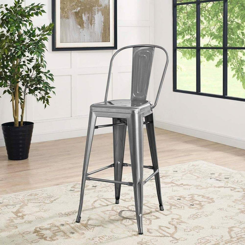 Modway Promenade Bar Side Stool - Gunmetal