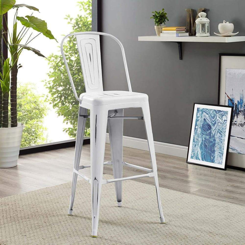 Modway Promenade Bar Side Stool - White