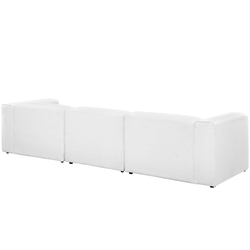Modway Mingle 3 Piece Upholstered Fabric Sectional Sofa Set