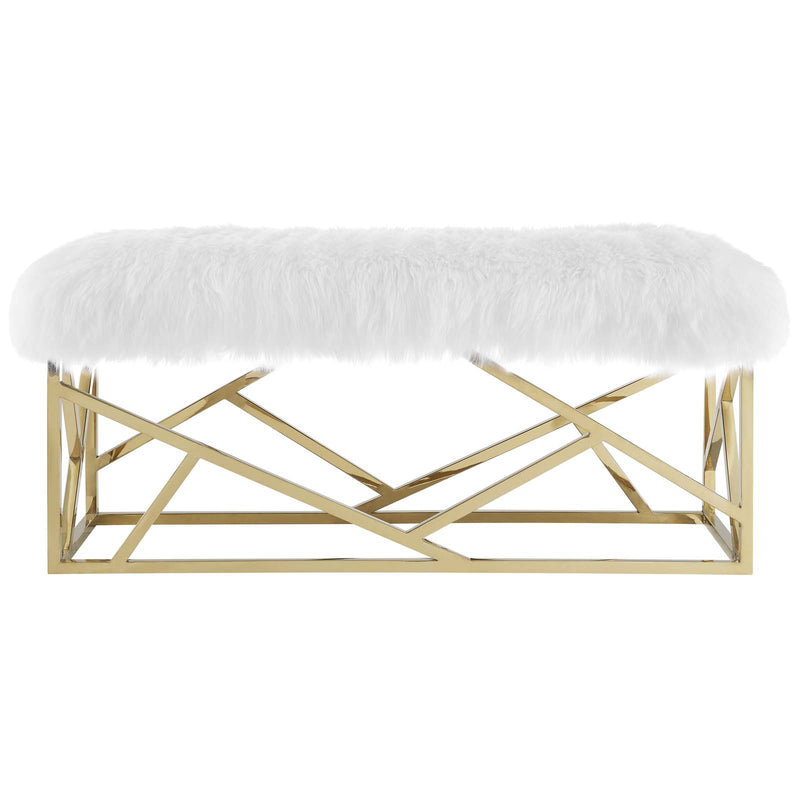 Modway Intersperse Sheepskin Bench