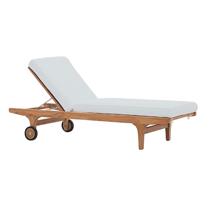 Modway Saratoga Outdoor Patio Teak Chaise Lounge Natural White