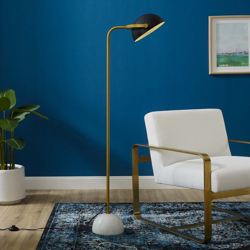 Modway Convey Bronze and White Marble Floor Lamp