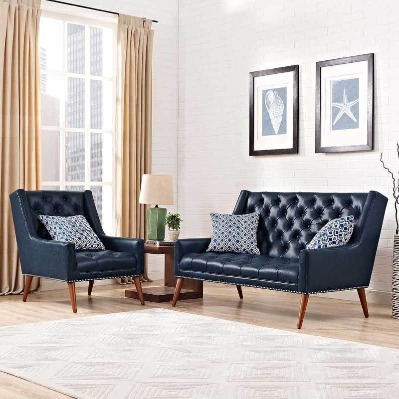 Modway Peruse Living Room Set Faux Leather Set of 2