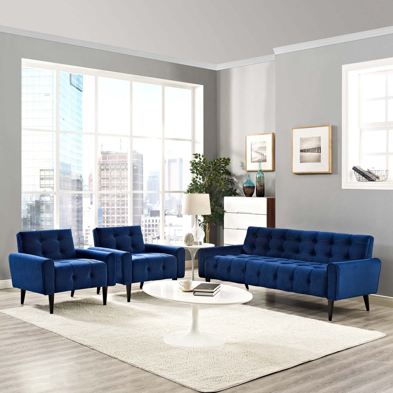 Modway Delve Living Room Set Performance Velvet Set of 3