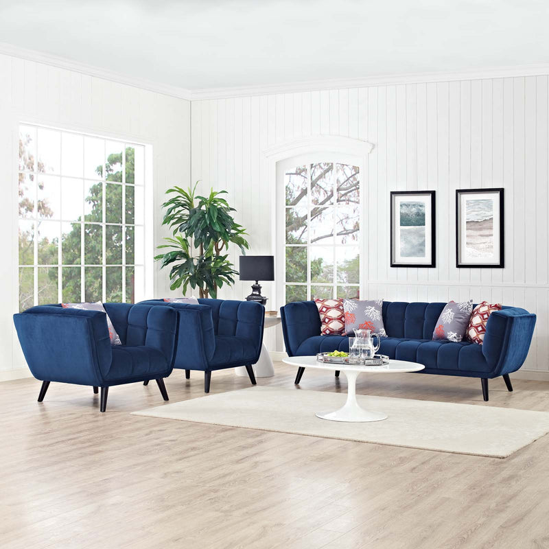 Modway Bestow 3 Piece Performance Velvet Sofa and Armchair Set