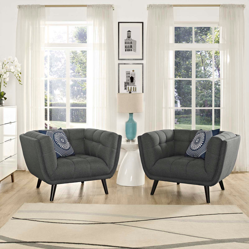 Modway Bestow 2 Piece Upholstered Fabric Armchair Set