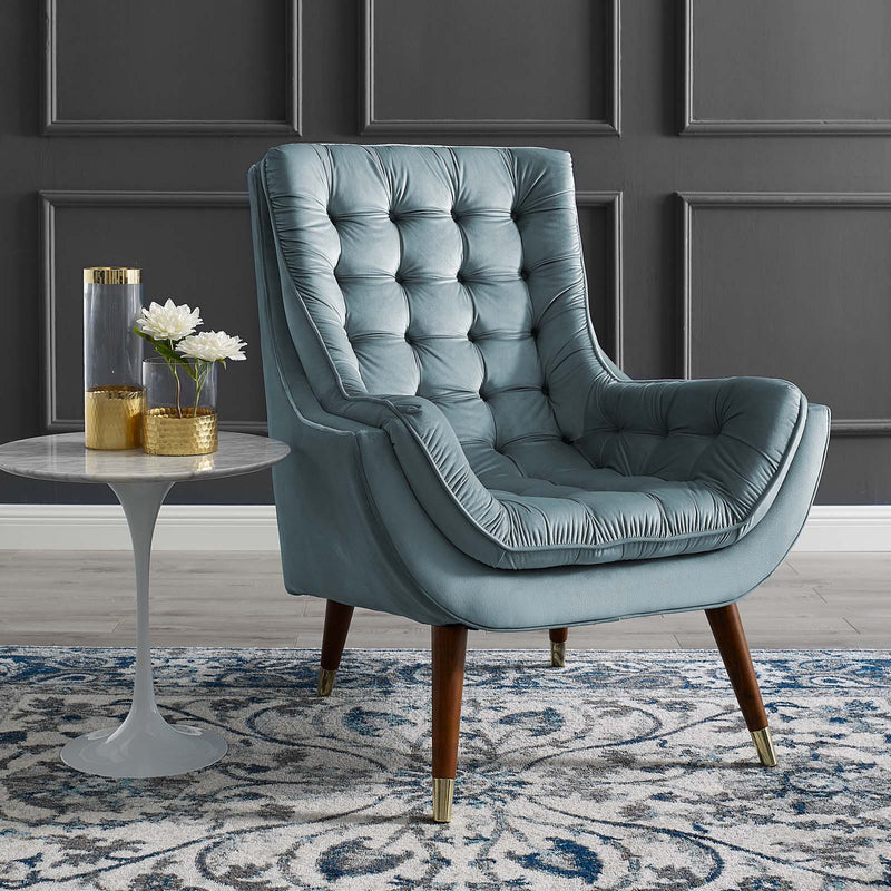 Modway Suggest Button Tufted Upholstered Velvet Lounge Chair