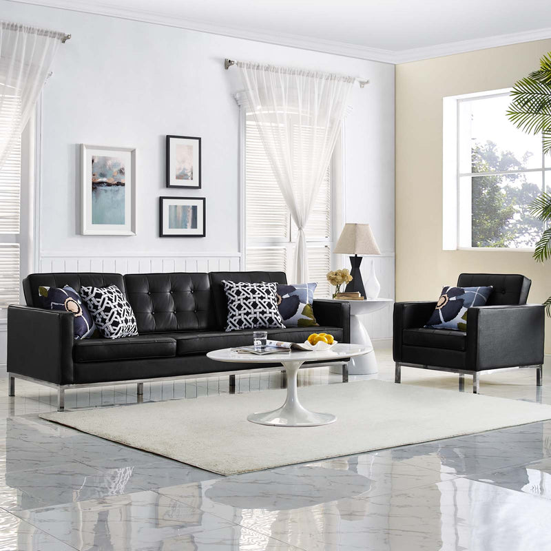 Modway Loft 2 Piece Leather Sofa and Armchair Set