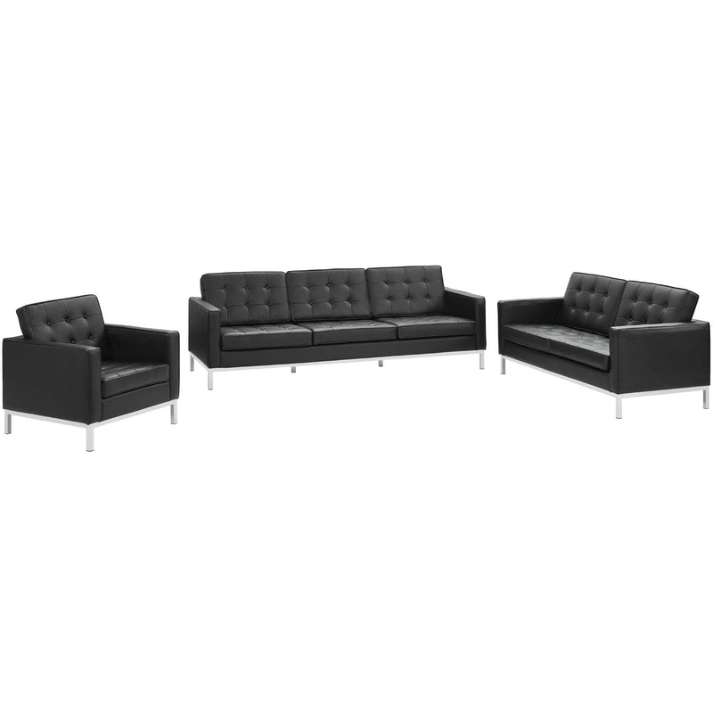 Modway Loft 3 Piece Leather Sofa Loveseat and Armchair Set