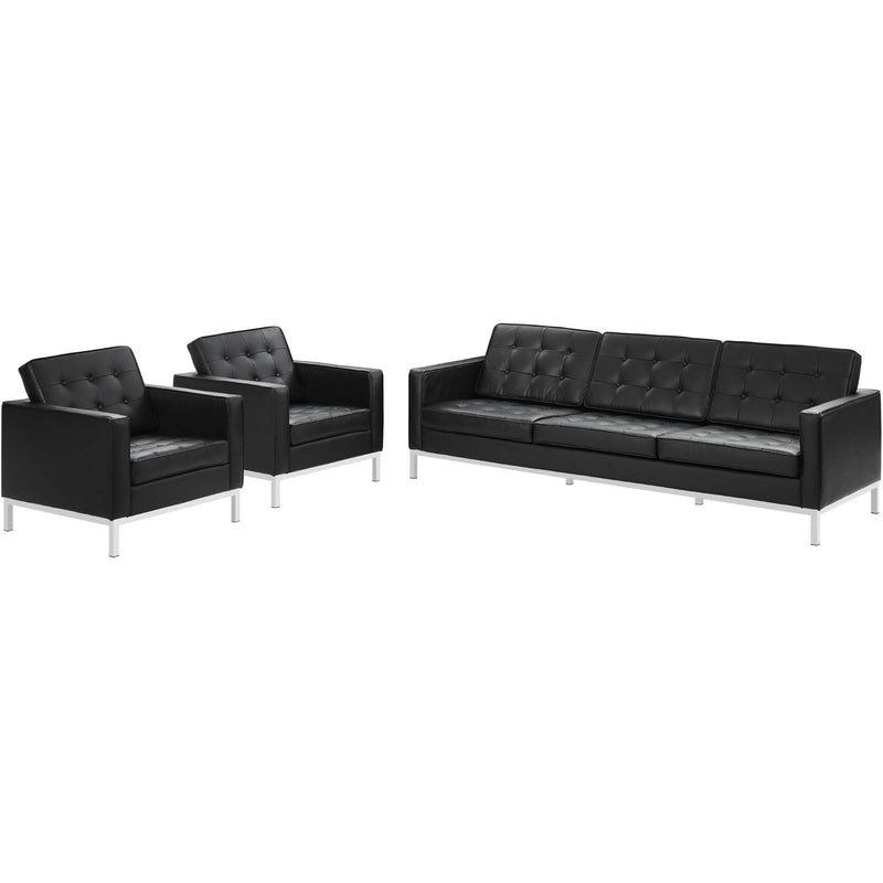 Modway Loft 3 Piece Leather Sofa and Armchair Set