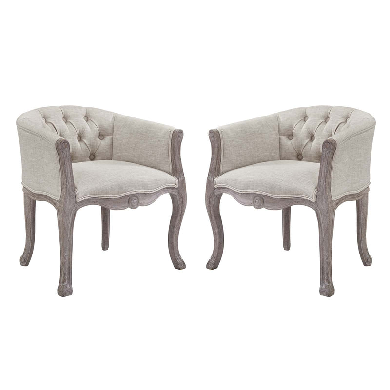 Modway Crown Vintage French Upholstered Fabric Dining Armchair Set of 2