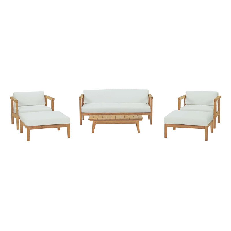 Modway Bayport 6 Piece Outdoor Patio Teak Set