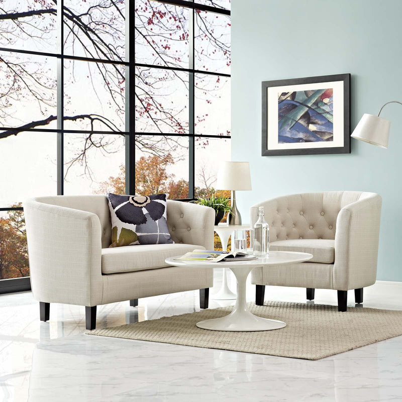 Modway Prospect 2 Piece Upholstered Fabric Loveseat and Armchair Set