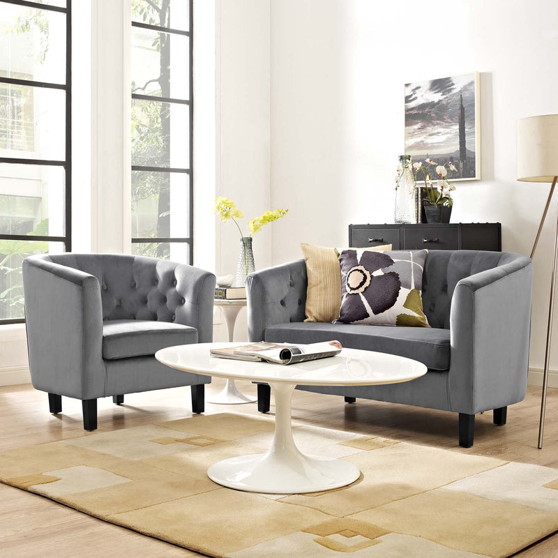 Modway Prospect 2 Piece Performance Velvet Loveseat and Armchair Set