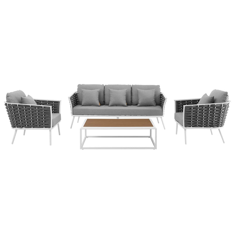 Modway Stance 4 Piece Outdoor Patio Aluminum Sectional Sofa Set
