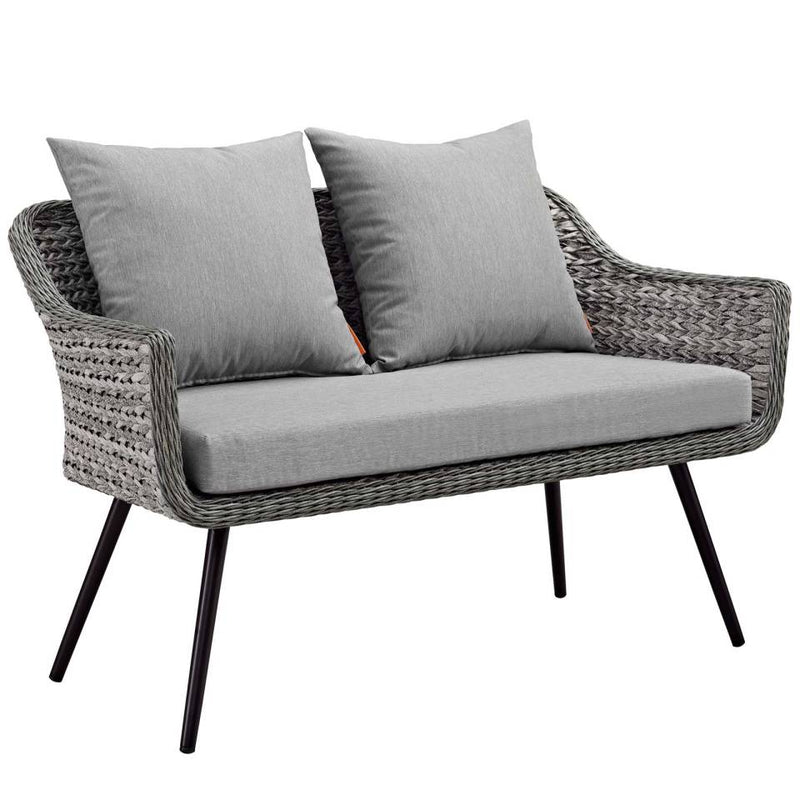 Modway Endeavor 3 Piece Outdoor Patio Wicker Rattan Loveseat and Armchair Set