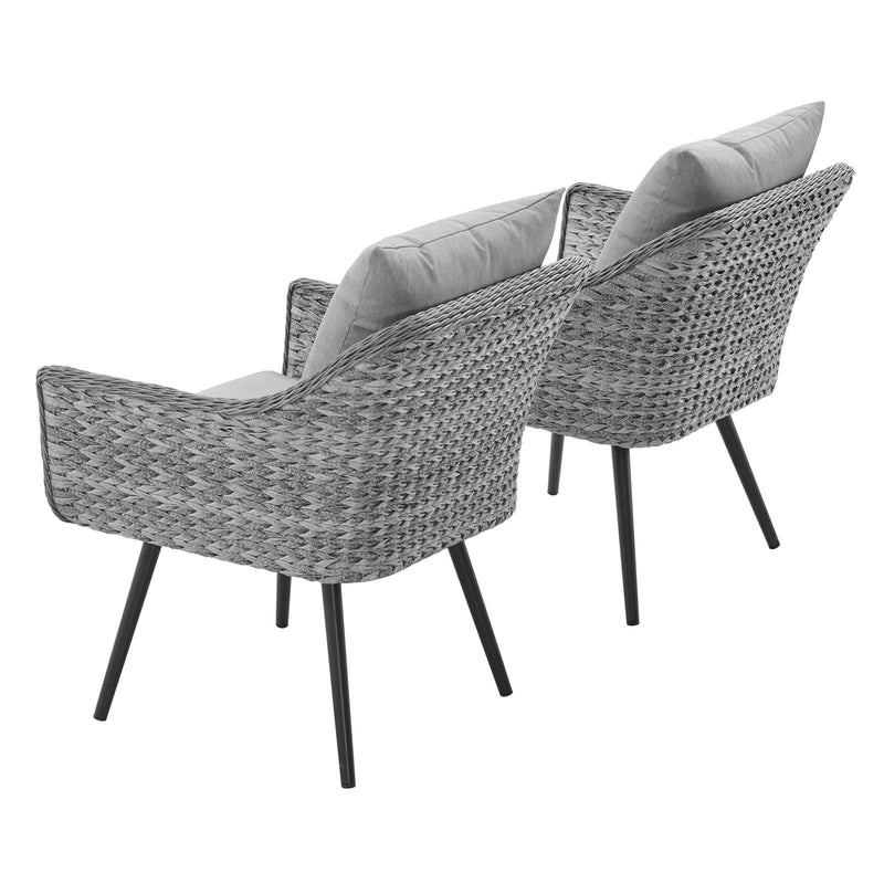 Modway Endeavor Armchair Outdoor Patio Wicker Rattan Set of 2