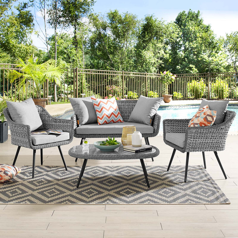 Modway Endeavor 4 Piece Outdoor Patio Wicker Rattan Sectional Sofa Set