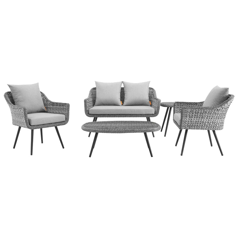 Modway Endeavor 5 Piece Outdoor Patio Wicker Rattan Sectional Sofa Set