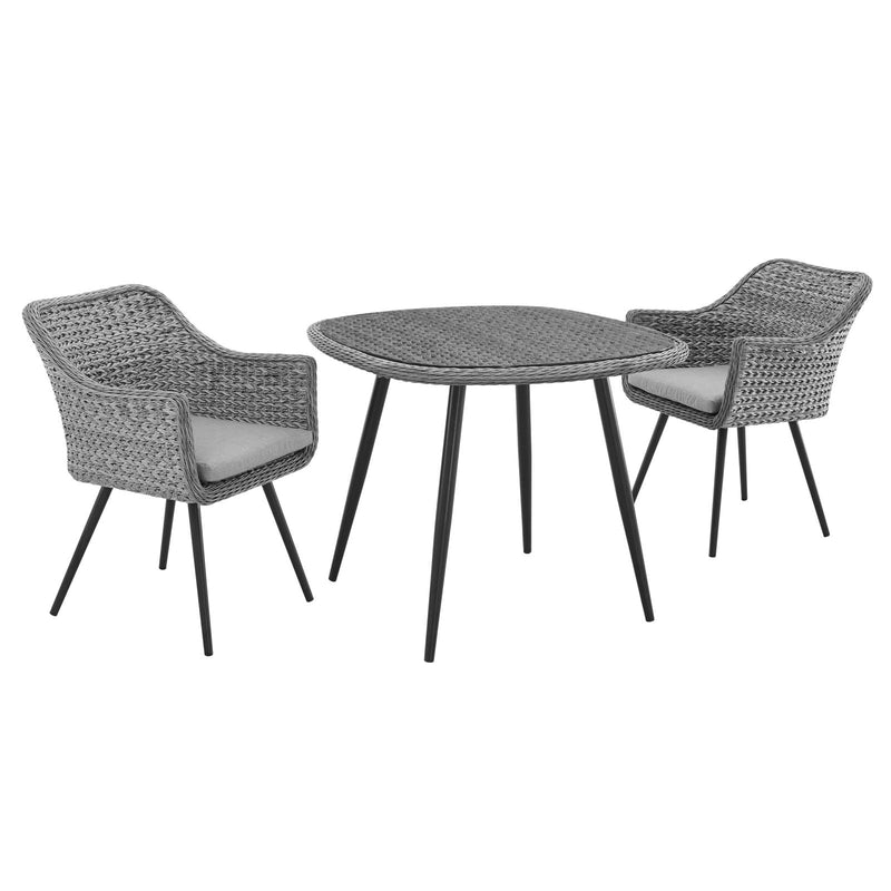 Modway Endeavor 3 Piece Outdoor Patio Wicker Rattan Dining Set