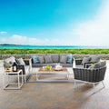Modway Stance 5 Piece Outdoor Patio Aluminum Sectional Sofa Set