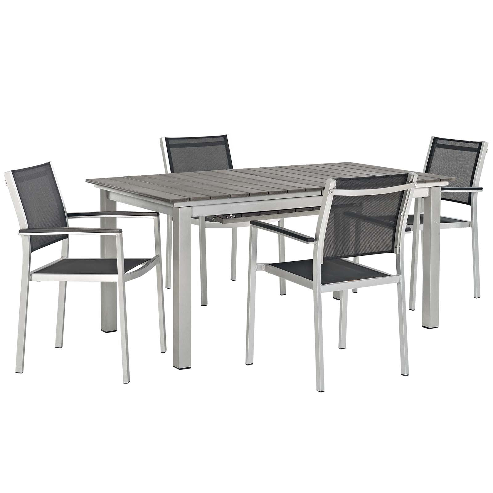 Picture of: Modway Shore 5 Piece Outdoor Patio Aluminum Outdoor Dining Set Modish Store