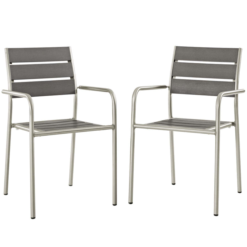 Modway Shore Dining Chair Outdoor Patio Aluminum Set of 2