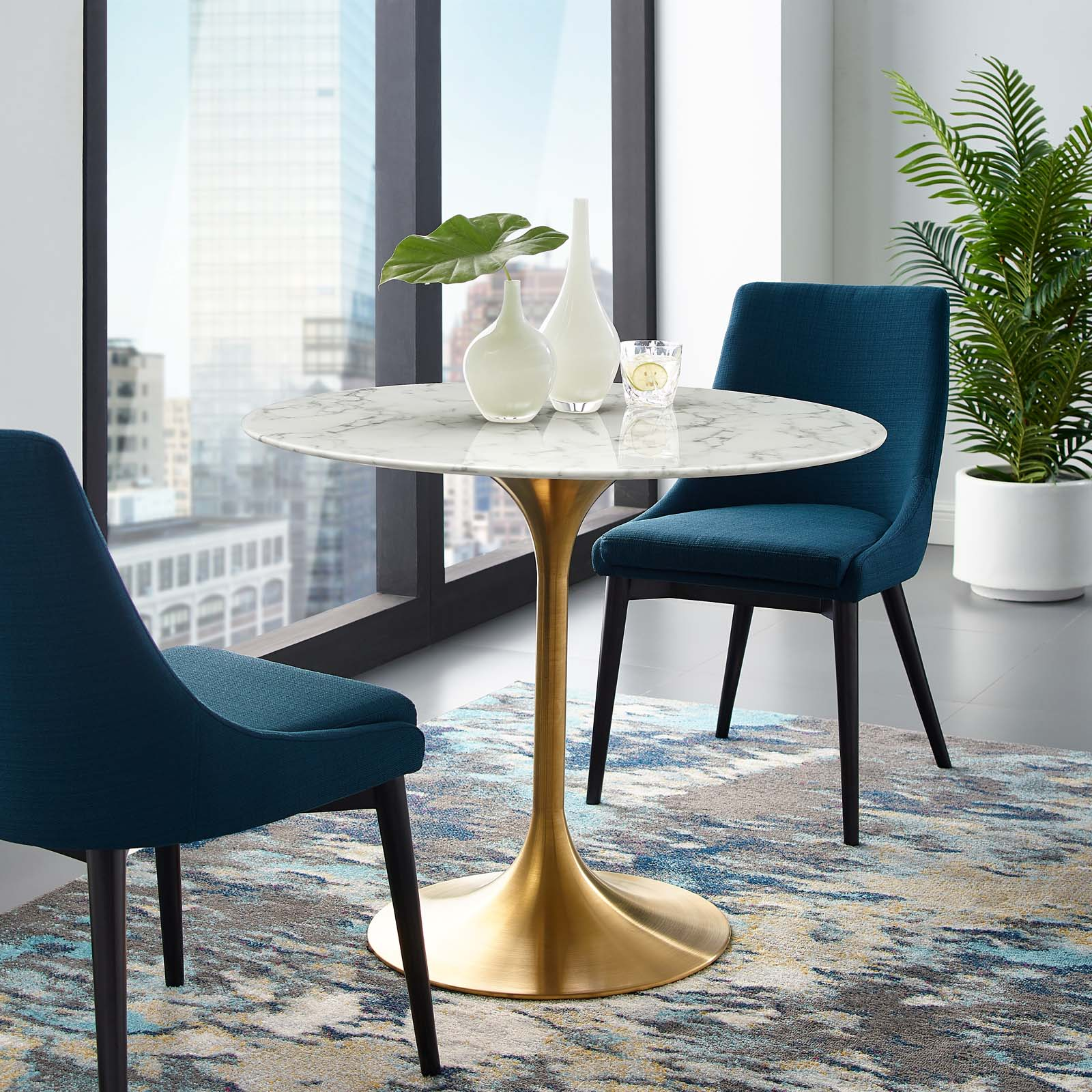 Picture of: Modway Lippa 36 Round Artificial Marble Dining Table In Gold White Modish Store
