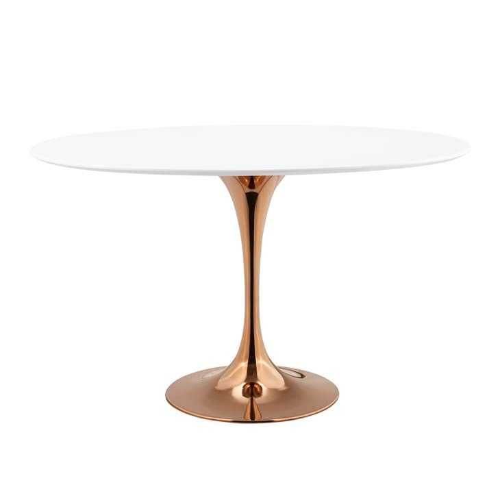 "Modway Lippa 48"" Oval Wood Top Dining Table in Rose White"