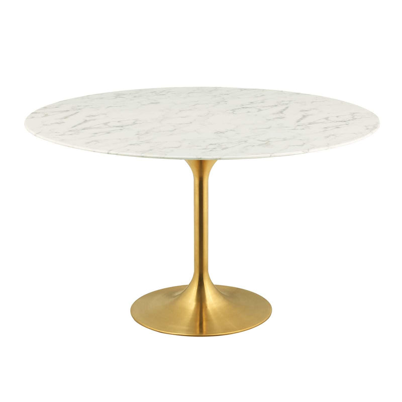 "Modway Lippa 54"" Round Artificial Marble Dining Table in Gold White"