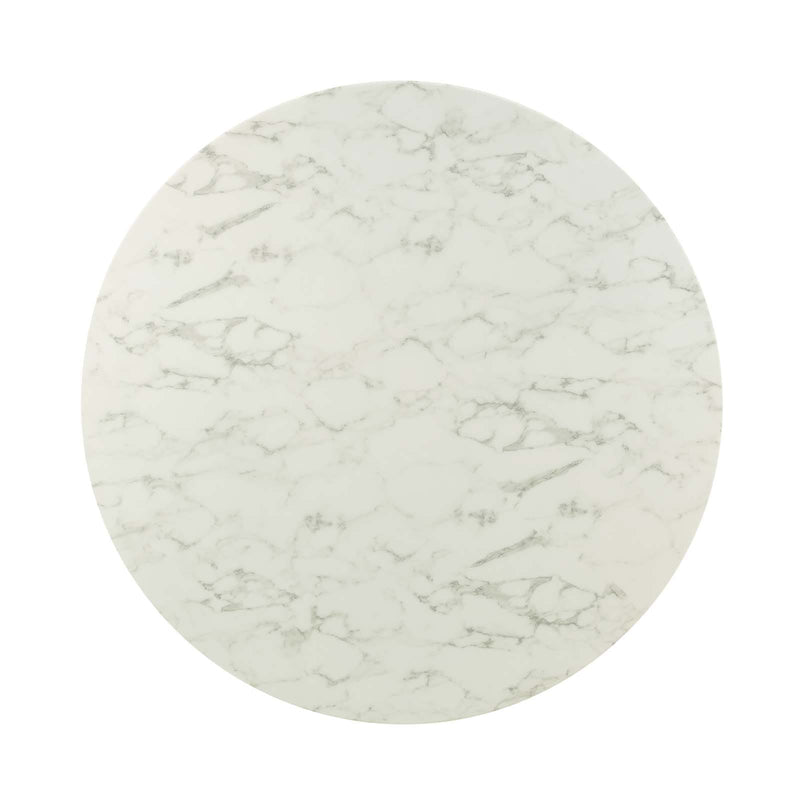 "Modway Lippa 54"" Round Artificial Marble Dining Table in Gold White - Top"