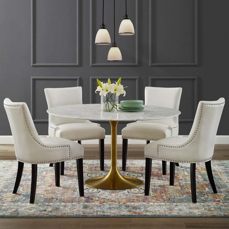 "Modway Lippa 54"" Round Artificial Marble Dining Table in Gold White - Feature"