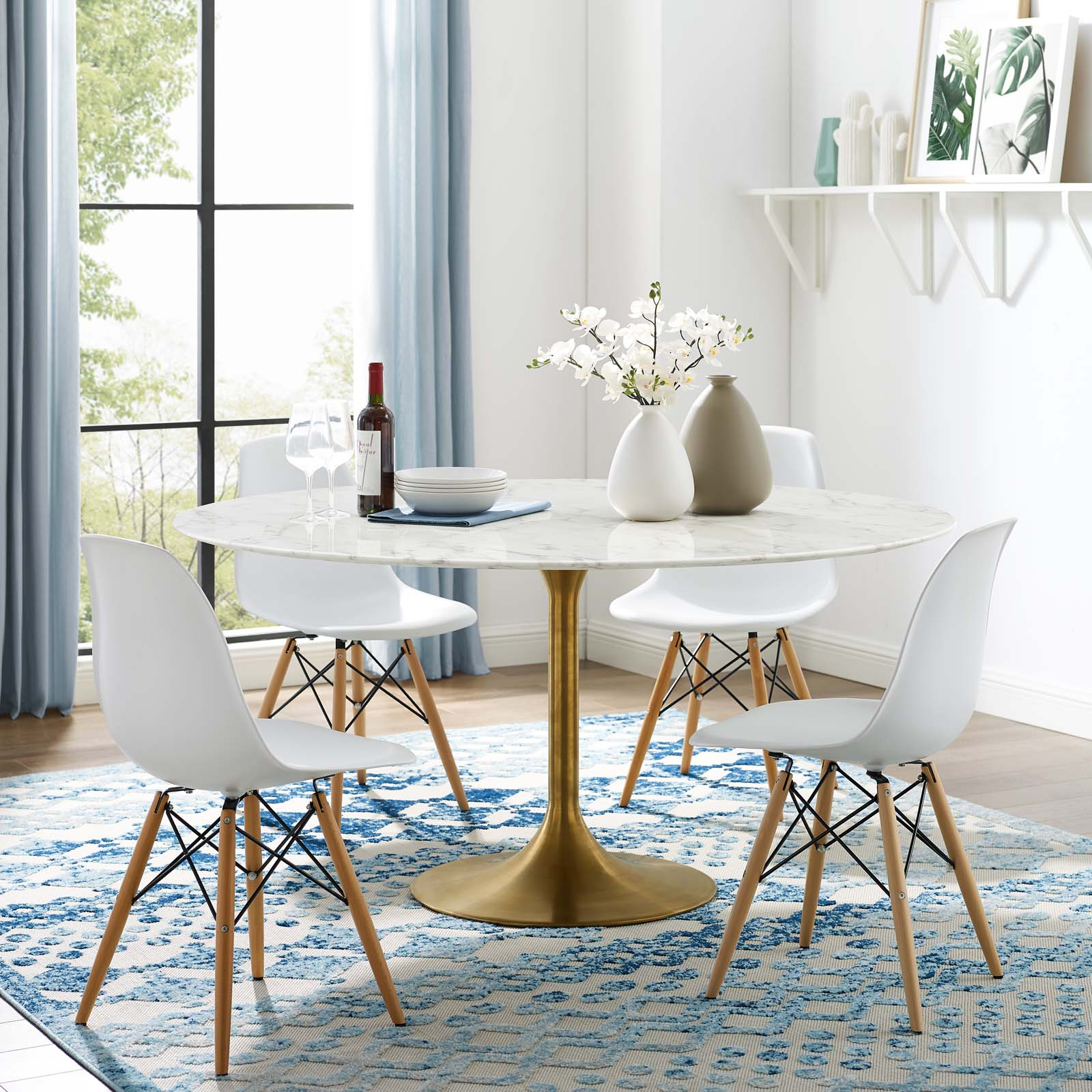 Modway Lippa 60 Round Artificial Marble Dining Table In Gold White