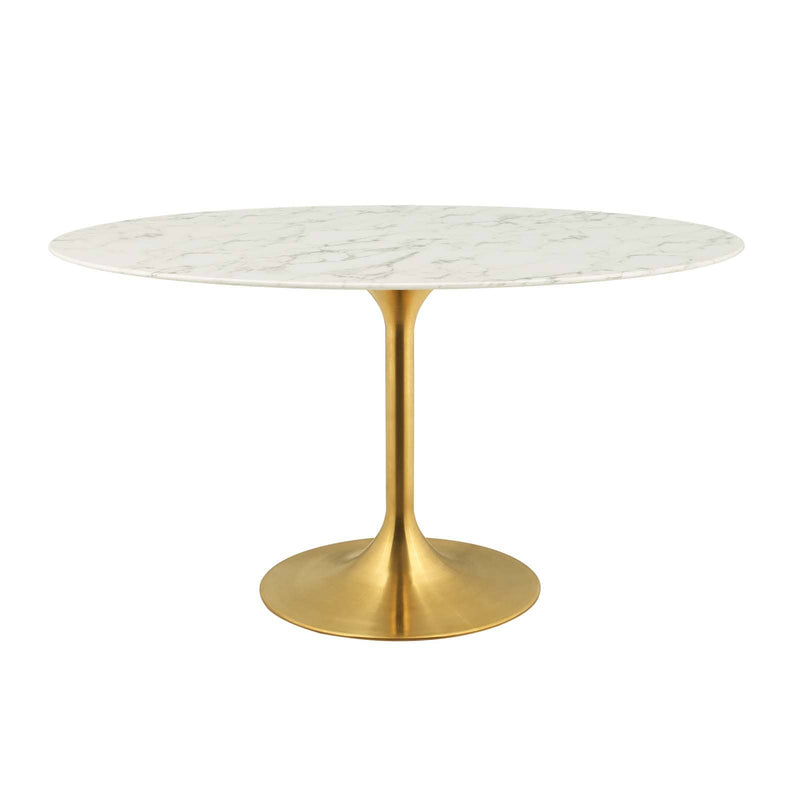 "Modway Lippa 54"" Oval Artificial Marble Dining Table in Gold White"