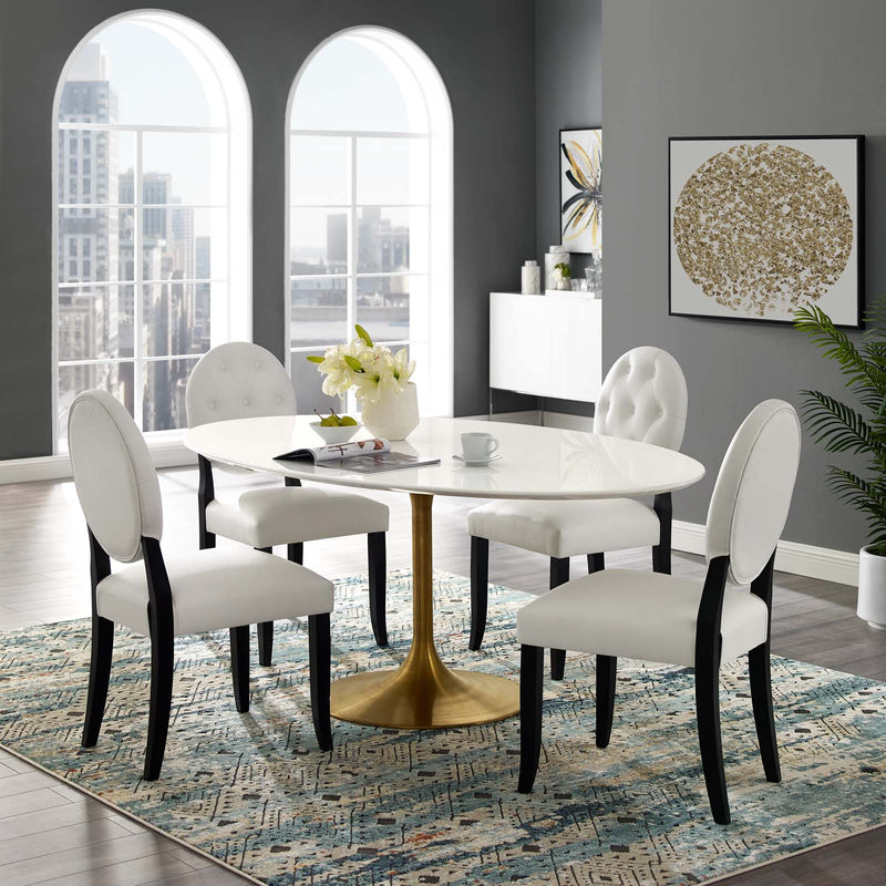 "Modway Lippa 78"" Oval Wood Top Dining Table in Gold White - Lifestyle Image"